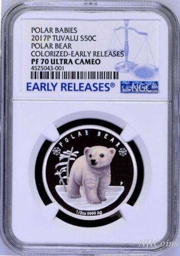 2017 P Tuvalu PROOF Silver Polar Babies Polar Bear NGC PF70 1//2 oz Coin w// OGP