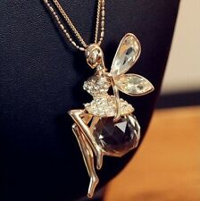 c-Crystal Ball Fairy Angel Flying Wing Gold Plated Pendant Necklace Long Chain