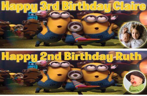 2 x personalised birthday banner photo minions children nursery kids party deco