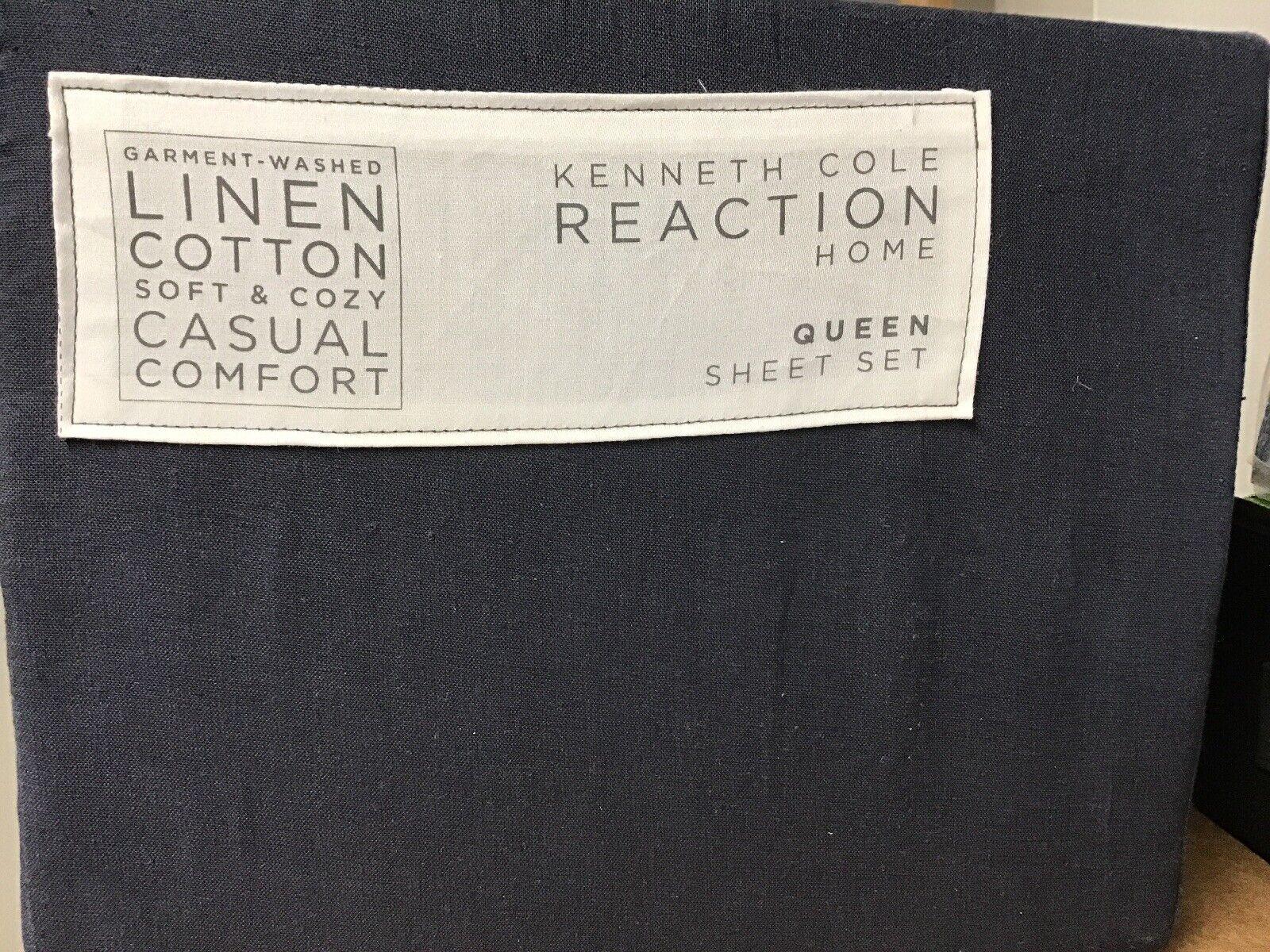 Kenneth Cole VêteHommest lavé lin et coton taille Queen feuilles bleu marine