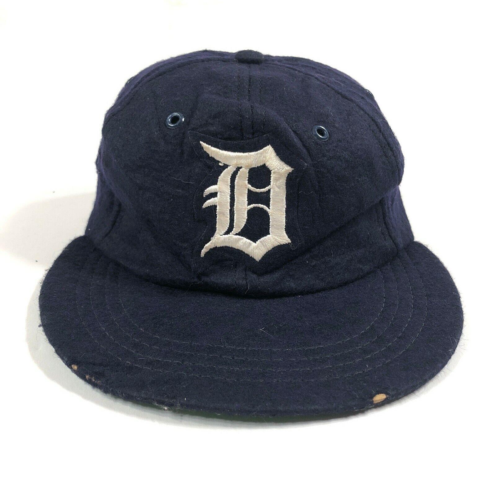 Selten 1960s Detroit Tiger 50/50 Wolle Baseballkappe Blau Union Aus Lederfutter