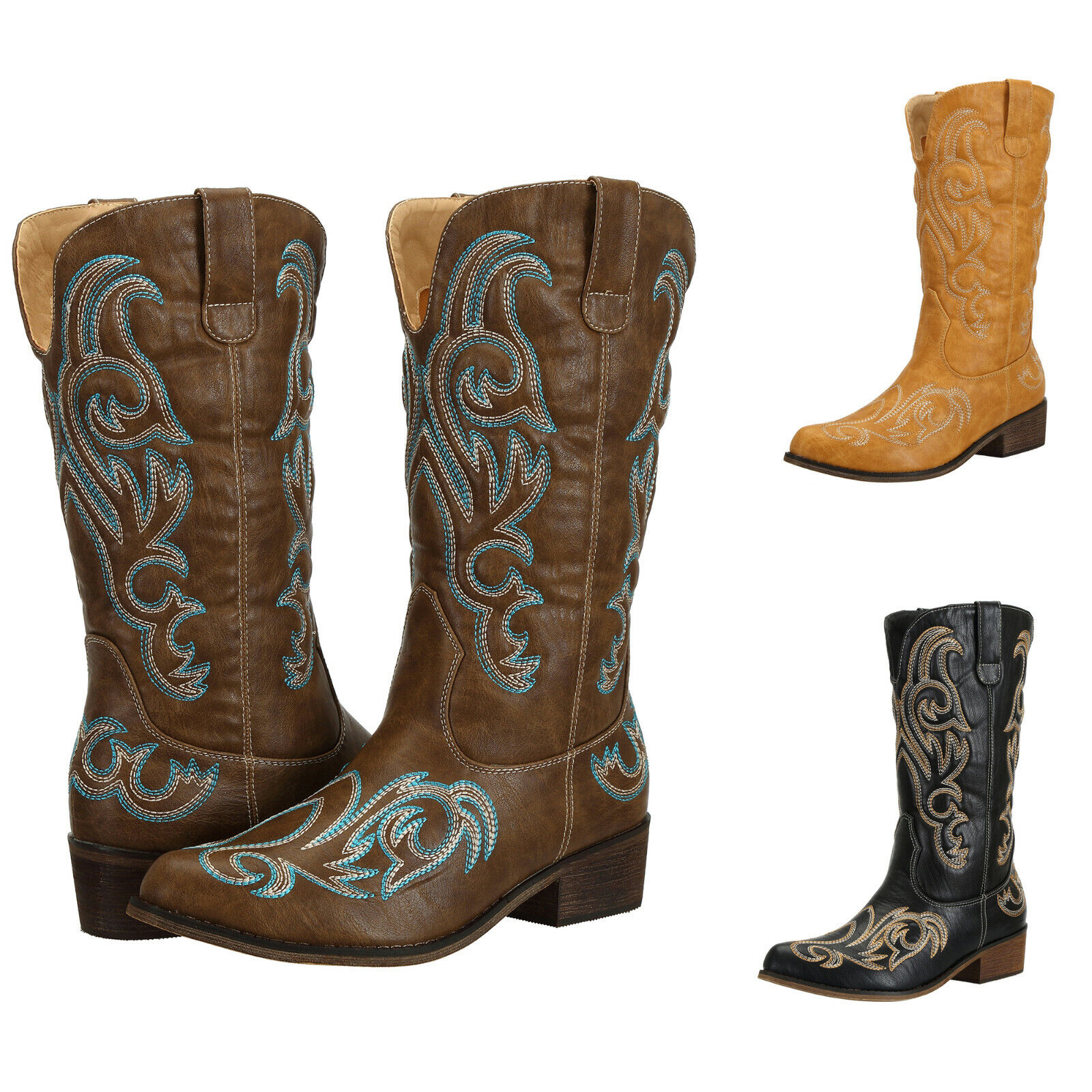 SheSole Womens Cowboy Boots Cowgirl Western Mid Calf Winter Shoes AU Size 5-11