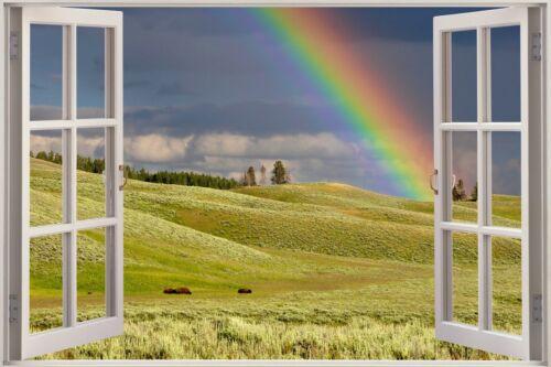 Huge 3D Window View Rainbow Nature Garden Wall Sticker Poster M1--390