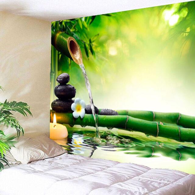 3D Waterproof Tapestry,Bamboo Water Pattern Indoor Outdoor Decor