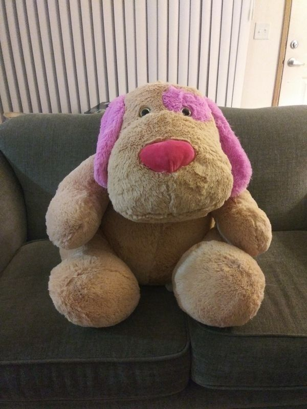 Plus Animal, large, Stuffed Dog, Pink Plush