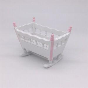 1-12-Dollhouse-Miniature-Baby-Cradle-Rocking-Bed-Nursery-Crib-Bedroom-Furniture