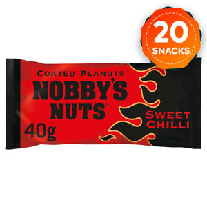 20 x Nobby's Nuts Sweet Chilli Coated Peanuts Snack Bar 40g in Pub Card