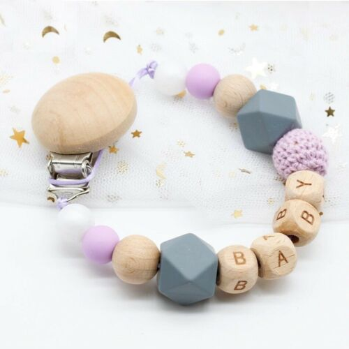 Personalized Handmade Wooden Dummy Clip Chain Silicone Pacifier Baby Gift Eco