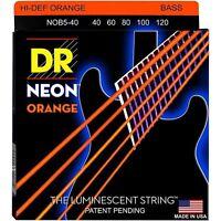 Dr Nob5-40 Neon Hidef Orange Bass Strings, Light Gauge 5 String Set 40-120