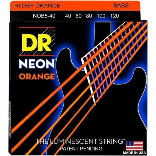 DR NOB5-40 NEON HiDef ORANGE BASS STRINGS, LIGHT GAUGE 5 STRING SET 40-120