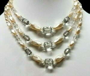 Vintage-Multi-3-Strand-Crystal-Glass-Cube-Bead-Faux-Baroque-Pearl-Necklace