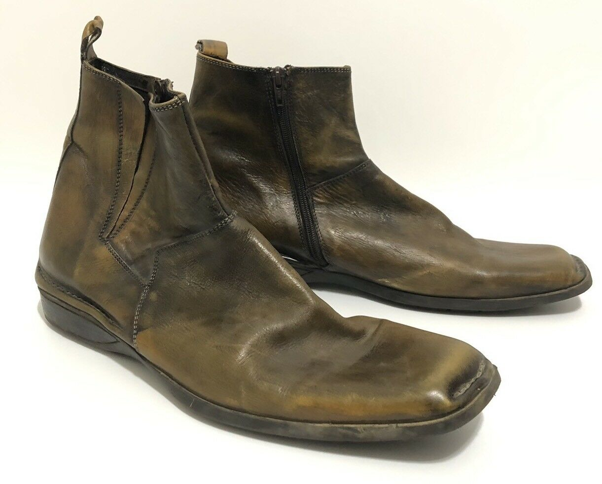 Leverage Wardrobe Shoes Bacco Bucci Brown Leather Ankle Chelsea Boots Size 12