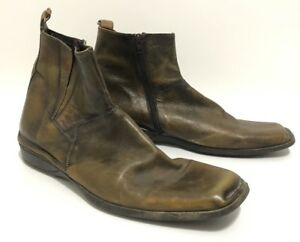 Leverage-Wardrobe-Shoes-Bacco-Bucci-Brown-Leather-Ankle-Chelsea-Boots-Size-12-034