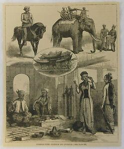 1884-revue-gravure-BURMESE-TYPES-INTERIEUR-EXTERIEUR-Burma