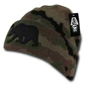 08f614a869dc3 Details about 1 Dozen WHANG California Republic Cali Bear Camo Cuff Beanies  Hats Wholesale