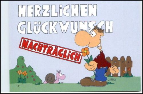 Glückwunsch GEBURTSTAG Nachträglich Karikatur Karrich Postkarte ungelaufen