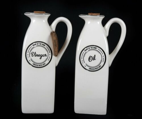 """Heart Of The Home"" White Oil & Vinegar Storage Jar Pourer Bottle Set"