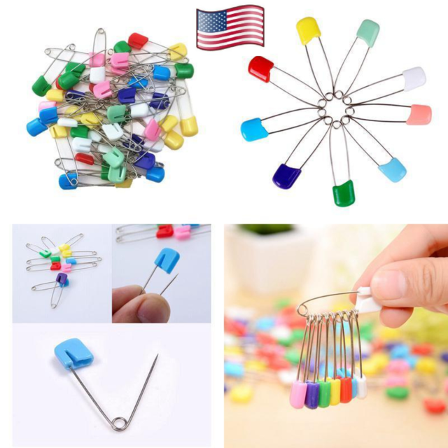 Multicolor 50pcs Baby Diaper Safety Pins 4cm Cloth Diapers Pins Plastic Head Nappy Pins for Locking Cloth Diaper or Handcrafts by TheBigThumb