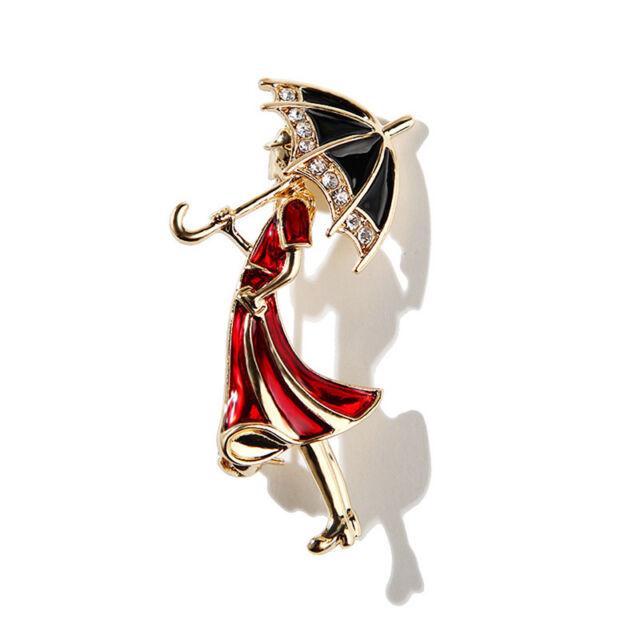 Enamel Crystal Rhinestone Girl Wearing Umbrella Collar Brooch Pins Jewelry  Gift