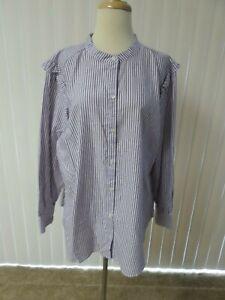 890a0324 Old Navy Women Long Sleeves RUFFLE BURG STRIPE Buttondown Shirt Size ...