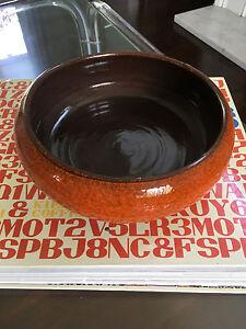 Vintage Mid Century Modern Italian Pottery Orange Bowl / Planter