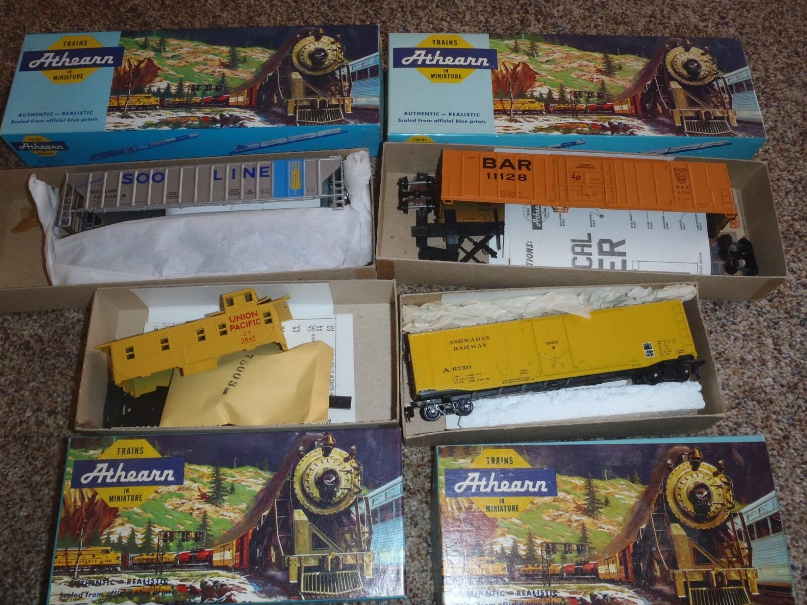 NOS VINTAGE ATHEARN HO TRAIN IN MINIATURE MIXED LOT OF FOUR TRAIN TOY
