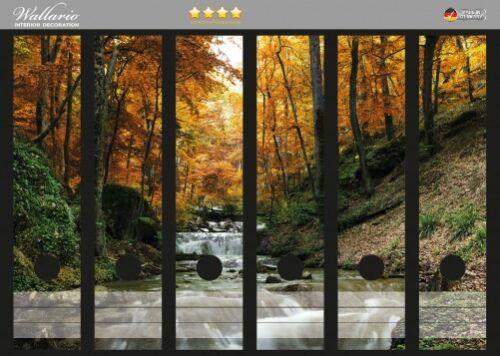 Wallario Ordnerrücken selbstklebend für 6 breite Ordner Bach Herbstwald Steine
