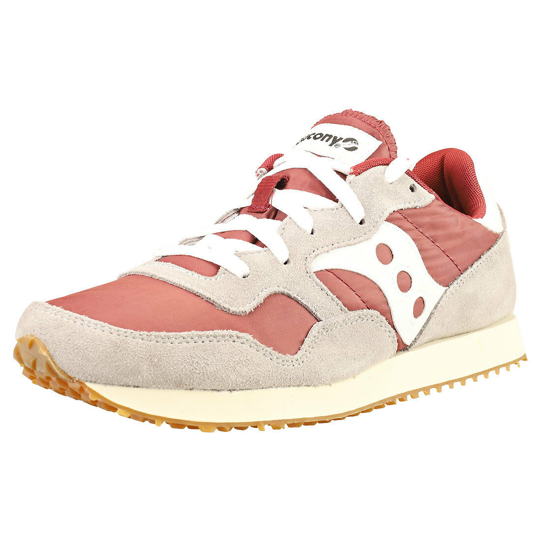 Saucony Dxn Vintage Mens Maroon Grey Suede & Nylon Trainers