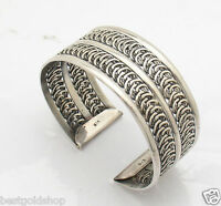 Adjustable Oxidized Vintage Look Bangle Bracelet Real 925 Sterling Silver 46.60g