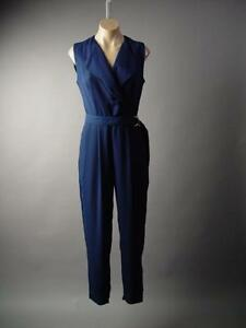 Navy-Blue-Nautical-Blazer-Wrap-Belted-Work-Dress-Pant-Suit-215-mv-Jumpsuit-S-M-L