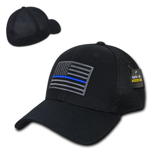 Black USA US American Flag TBL Tactical Operator Mesh Flex Baseball Fit Hat Cap