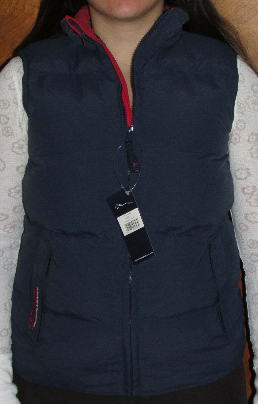 Shires Quilted Insulated Winter Riding Vest Padded Gilet - Navy Red Int. 9464