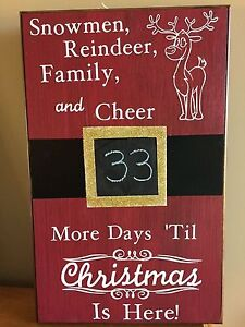 Countdown To Christmas Sign.Details About Christmas Countdown Chalkboard Santa S Belt Buckle Reindeer Sign