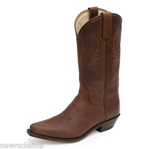 Sendra 2605 Unisex Cowboy Boots Brown Leather Western Biker Handmade
