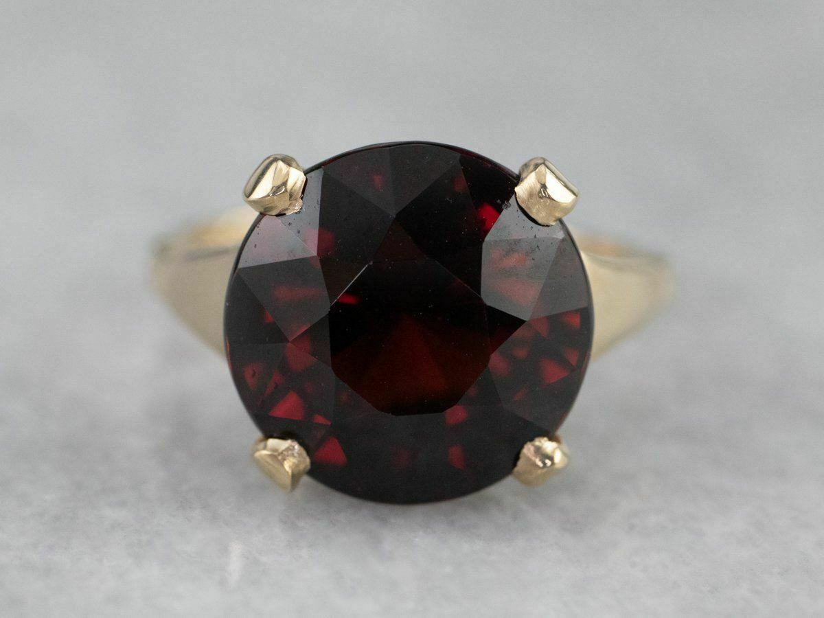 Garnet Gold Solitaire Ring - image 2