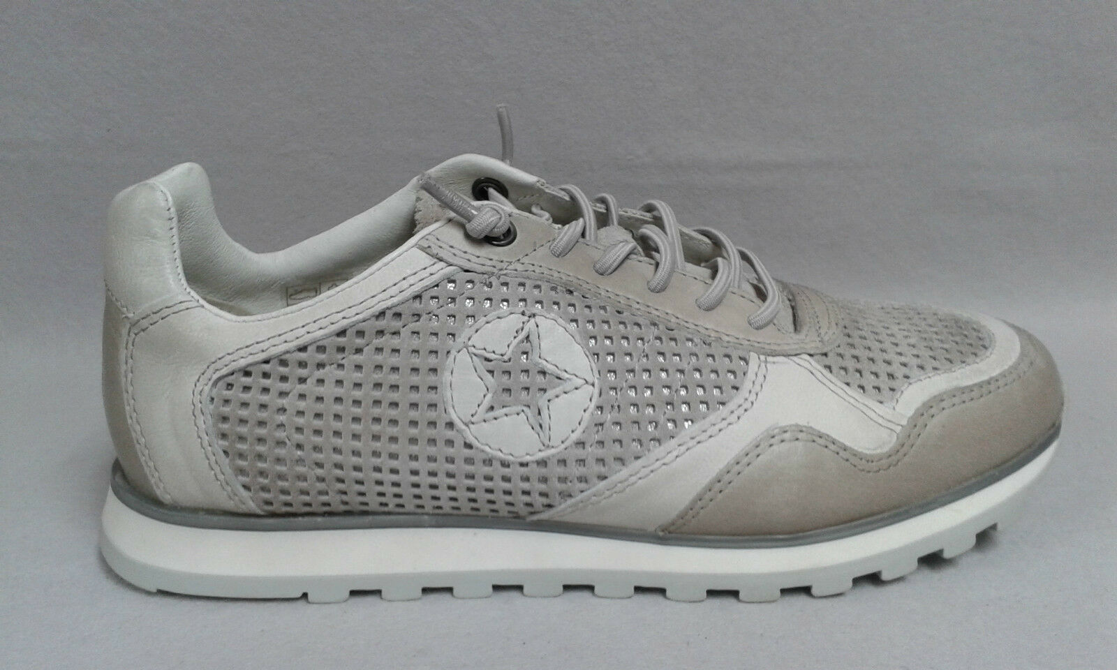 Minu Sneaker Halbschuh grau Echtleder Gummisenkel beqeuem Lederdecksohle 207464