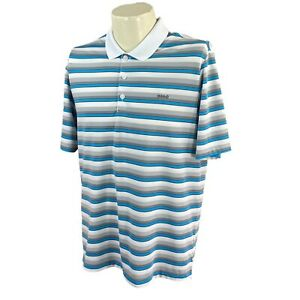 Adidas-Golf-Men-039-s-Climacool-Short-Sleeve-Gray-Blue-Stripe-Logo-Polo-Shirt-Medium