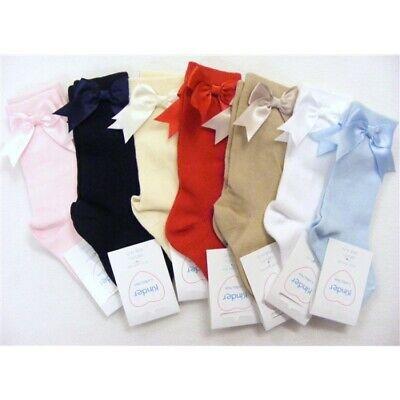 Baby Kids Knee High Socks Spanish Romany Cotton Ribbon Bow Toddler Girls 0-4 Age