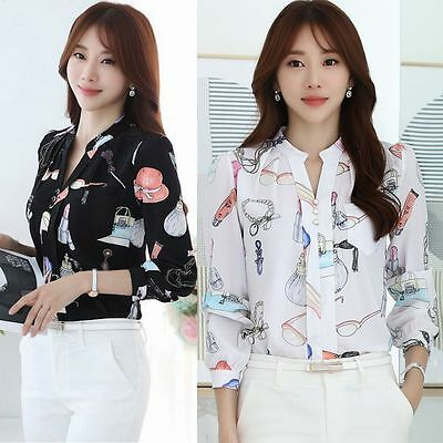 Women Autumn V Neck Elegant Floral Printed Chiffon Blouse Career OL Shirt Tops