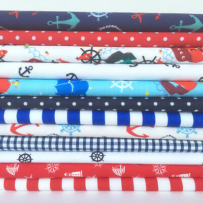 Nautical sailing themed 12 piece polycotton fat quarter bundle for sewing/ craft