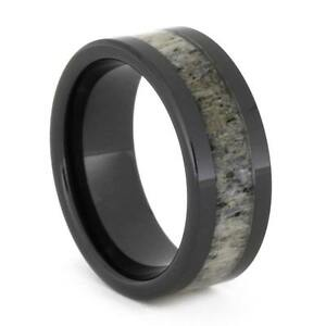 Deer Antler Wedding Band Black Ceramic Ring For Men eBay
