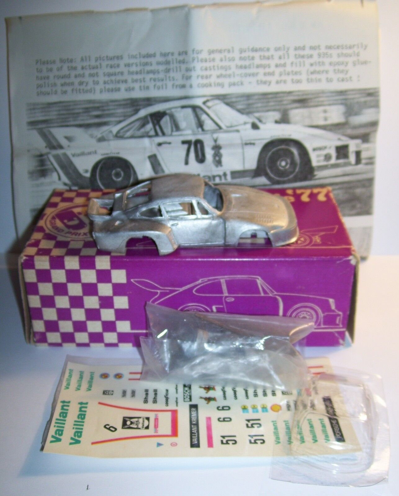 RARE KIT METAL GRAND PRIX MODELS SERIE 77 VAILLANT KREMER SEKURIT PORSCHE 935 77