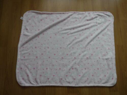 Baby Blanket Crib Pram Pink Hearts Cat 80 x 95cm super soft Fleece
