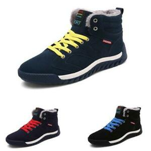 Men/'s Winter Warm Ankle Boots Fur-lined Lace Up Casual Shoes Size Biker Walking