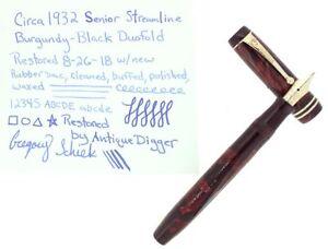 CIRCA-1932-PARKER-SENIOR-STREAMLINE-DUOFOLD-BURGUNDY-BLACK-FOUNTAIN-PEN-RESTORED