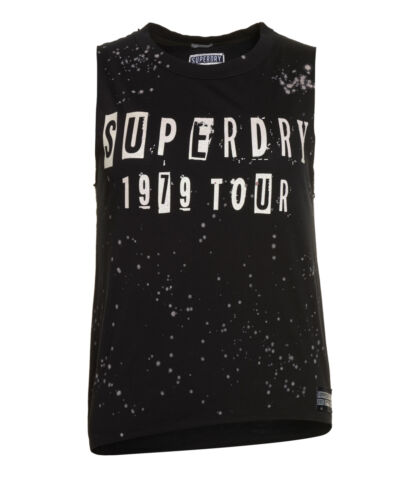 Superdry Black Splatter Womens Asymmetric New Midnight Canotta Factory Secondo qRBnFS