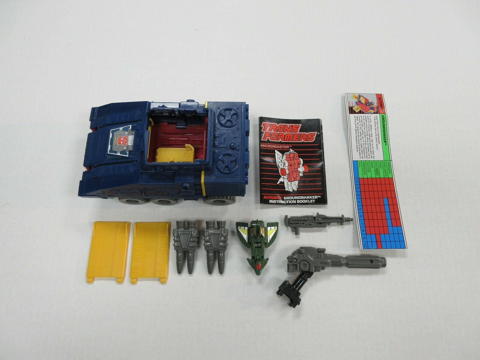1989 G1 TRANSFORMERS MICROMASTER GROUNDSHAKER 100% COMPLETE ROBOT W  TECH SPECS+