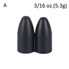 2x Black Tungsten Bullet Flipping Weight Fishing Sinker Lure Fishing Accessory~~
