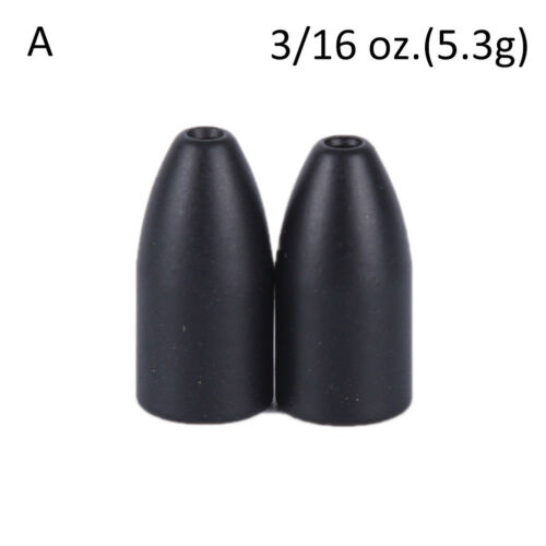 2Pcs Black Tungsten Bullet Flipping Weight Fishing Sinker Lure Fishing Acces BE