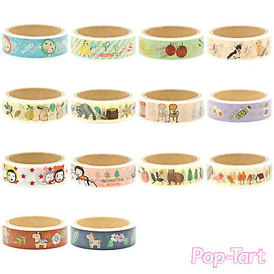 Cute Decorative Washi Paper Masking Tape Self Adhesive Craft Roll DIY 15mm x 5M